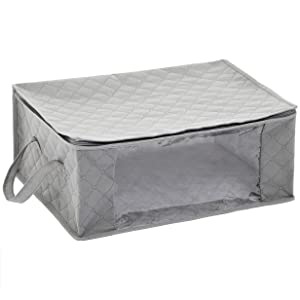 AmazonBasics Foldable Storage Bag Organizers with Large Clear Window & Carry Handles, Zippered Cubes, 3-Pack