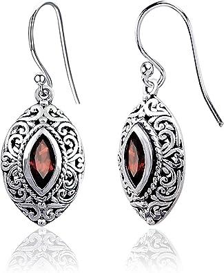 Natural Garnet and Topaz Gemstone Earrings 925 Sterling Silver Drop and Dangle Earrings Handmade Earrings Statement Earrings Gift For Her