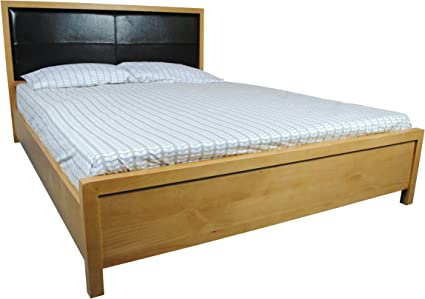 Schreiber Stratford Solid Pine Bed Frame With Real Leather Headboard King Size 5ft Oak Amazon Co Uk Kitchen Home