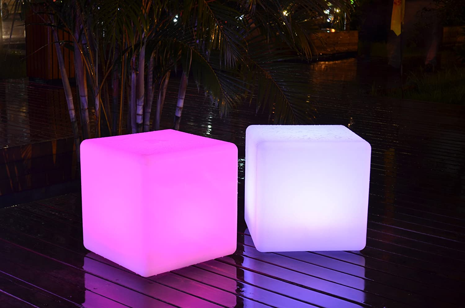 Led Light Cube Chair 16 Inches Waterproof Cordless With Remote Control by Led Planet Lighting
