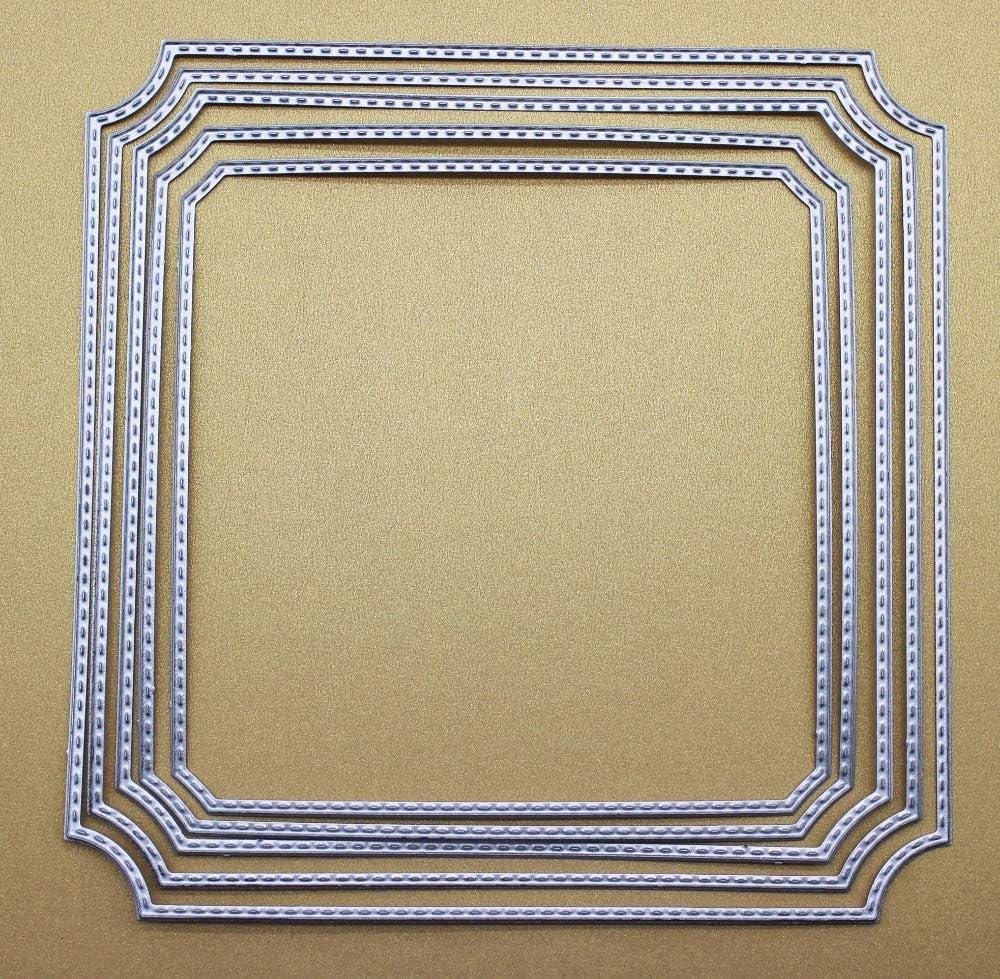 1515Cm 5Pcs Round Corner Chamfer Square Frame Metal Cut Cutting Dies Mold Tool for Scrapbooking Scrapbook Album Paper Decorative Craft Embossing Folder