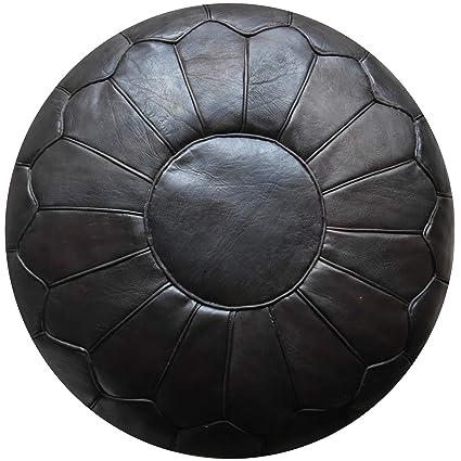 Repose-Pied Ottoman Pouf Premium XL en Cuir V/éritable Fait Main Repose-Pied Tabouret Noir Coussin de Sol Vendu Rembourr/é