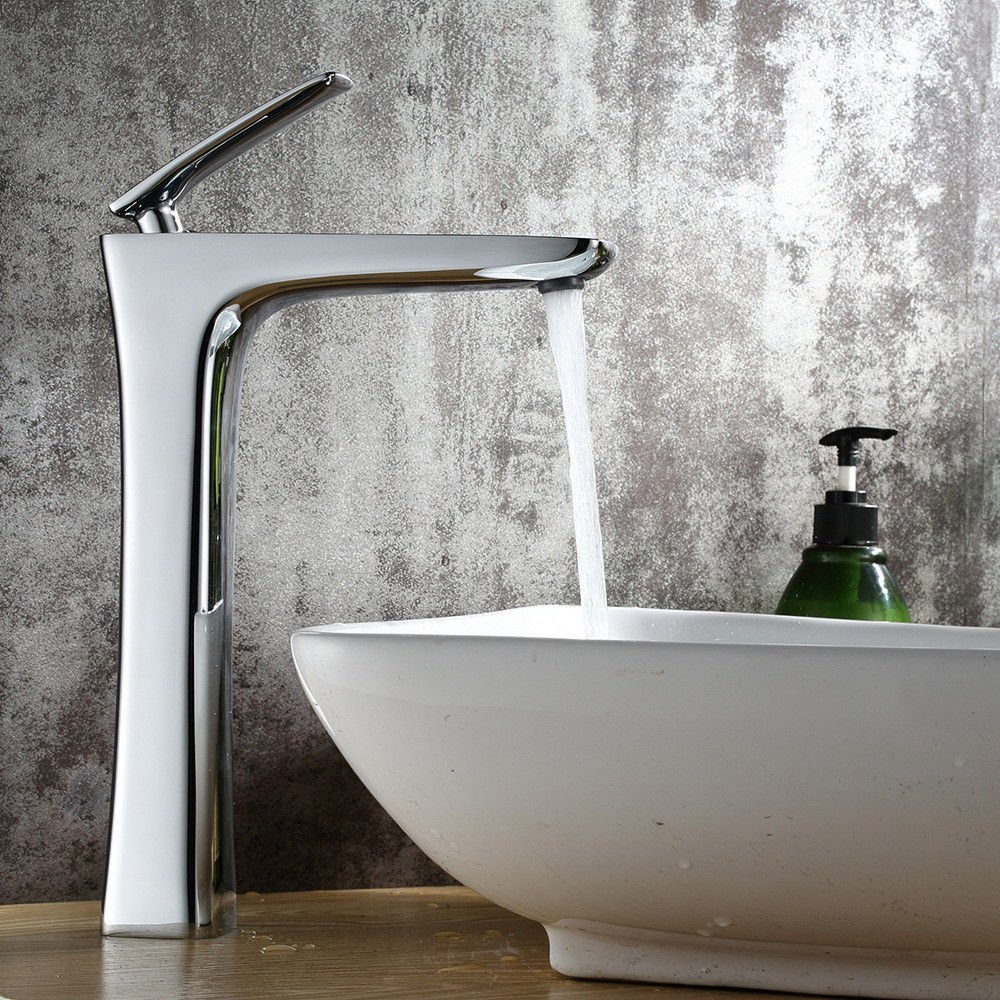 AQMMi Basin Taps Bathroom Sink Faucet Brass Chrome Hot and Cold Water Single Lever Bathroom Sink Faucet Basin Mixer Tap