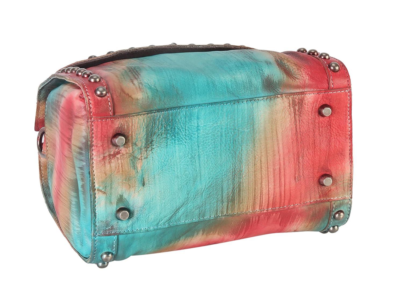 Diophy Distressed Genuine Leather Top Handle Zipper Closure Medium Tote Handbag 150392