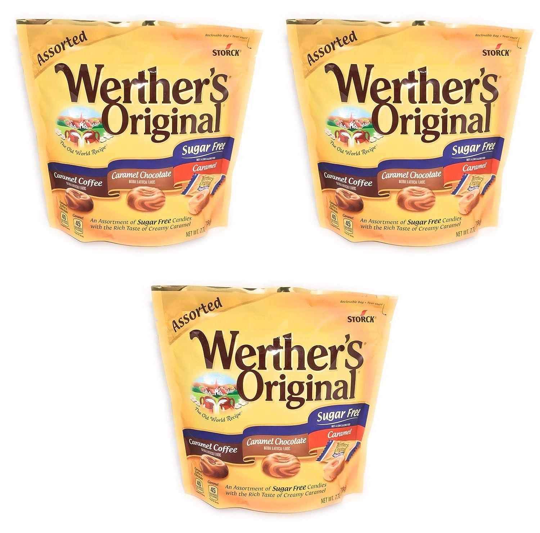 Werther's Original Sugar Free Assorted 7.7oz. Caramel Coffee, Caramel Chocolate, Caramel Pack of 3