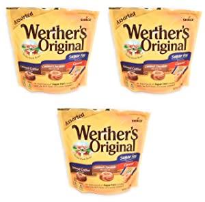 Werther's Original Sugar Free Assorted 7.7oz. Caramel Coffee, Caramel Chocolate, Caramel Pack of 3
