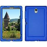 Bobj Rugged Case for Samsung Galaxy Tab S 8.4 Tablet Models SM-T700, SM-T705 - BobjGear Custom Fit - Patented Venting - Sound Amplification - BobjBounces Kid Friendly (Batfish Blue)