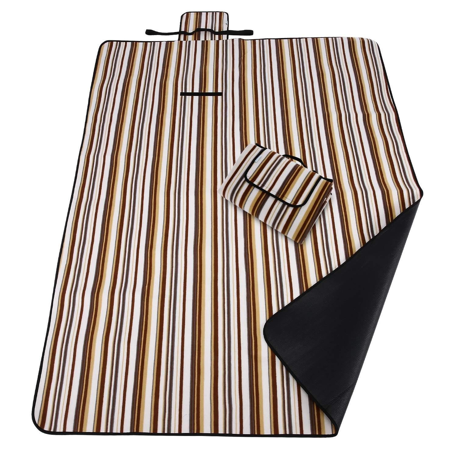 Waterproof Lightweight Large Outdoor Picnic Blanket Mat Escape Plaid Striped Fleece Camping Blankets Tote (type1)