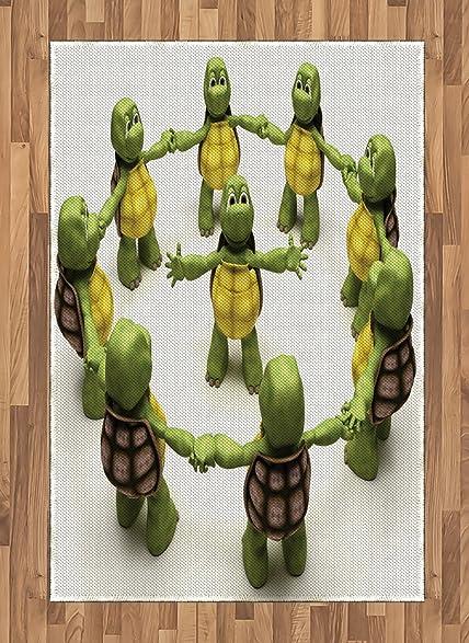 amazon com reptile area rug by lunarable ninja turtles dancing