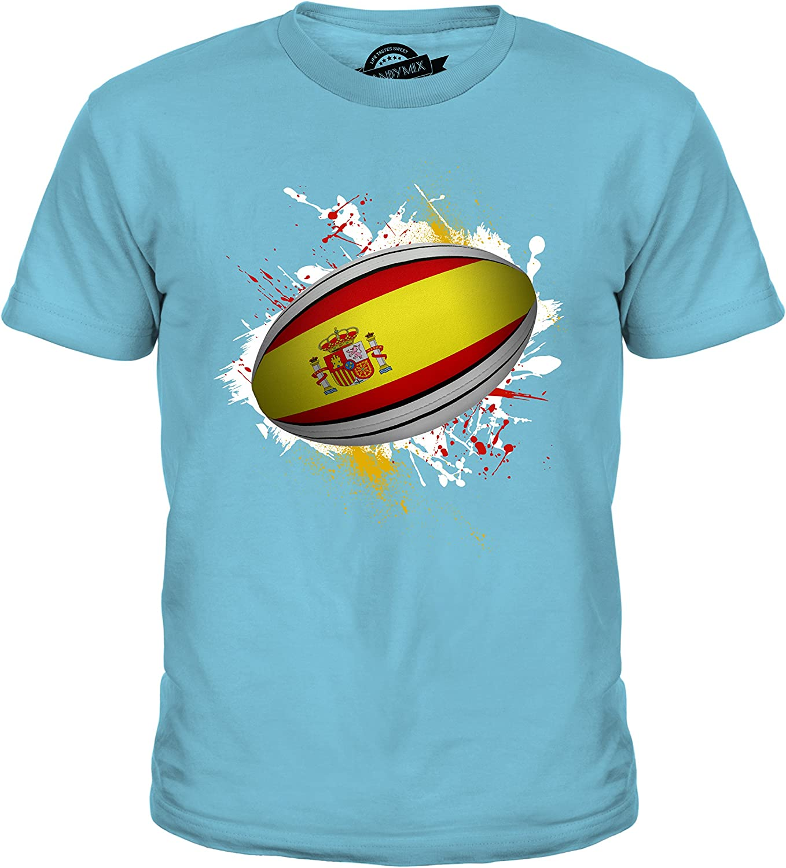 Candymix Spain Rugby Ball Splatter - Camiseta unisex para niños ...