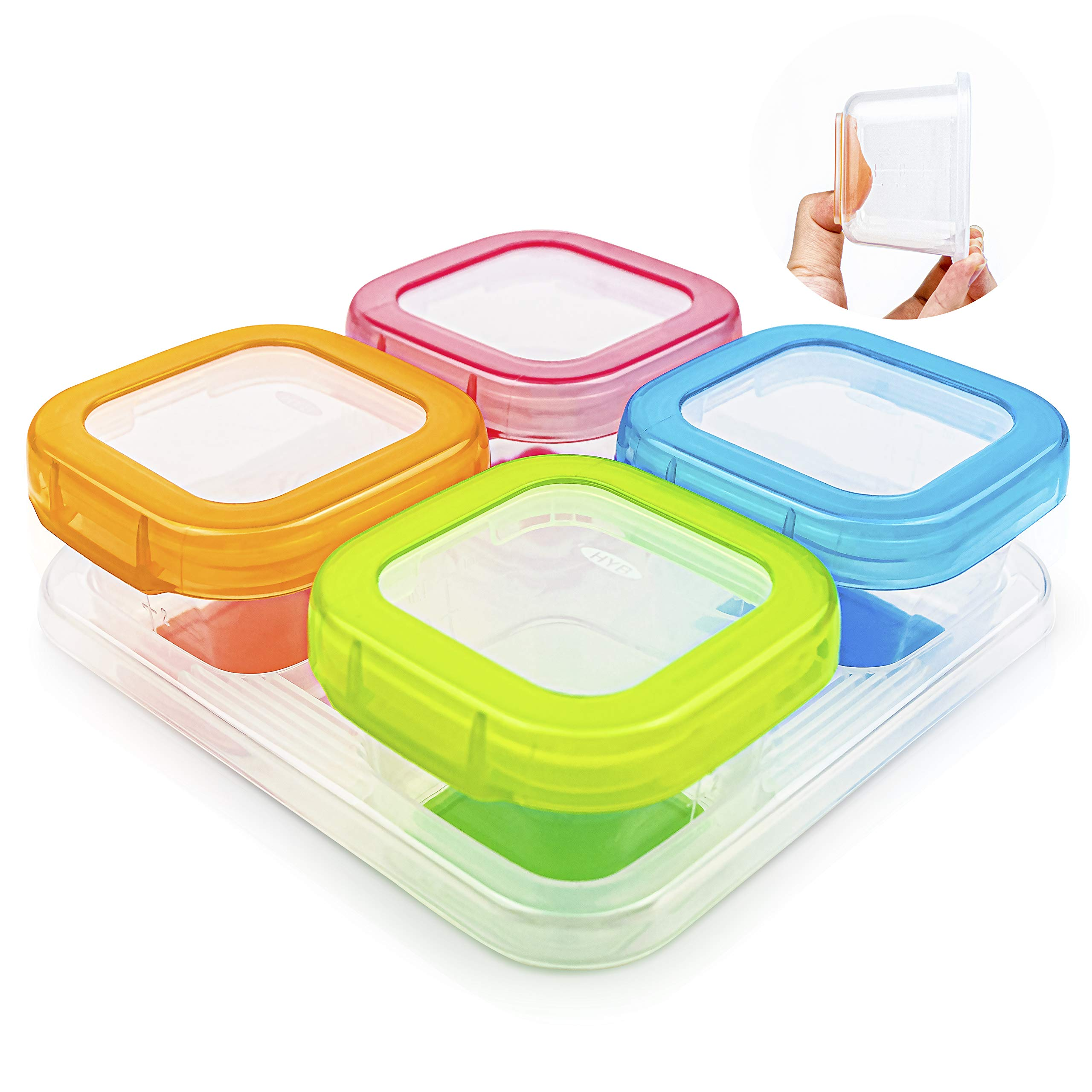 AAMUEE Baby Food Storage 4 Pcs 4 oz Baby Food Storage Containers