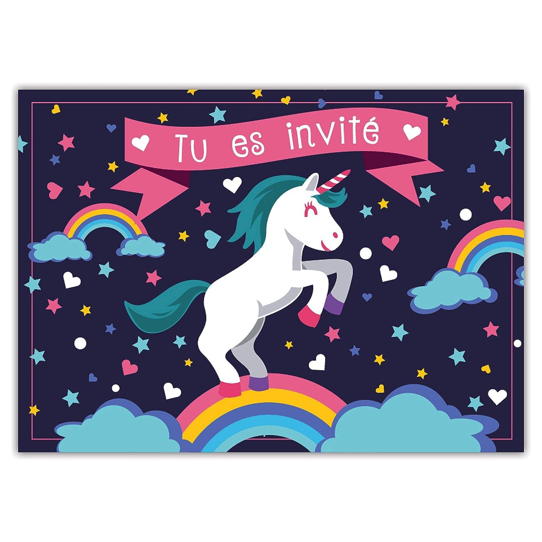 Lot de 12 Cartes Pegasus 12 Cartes dinvitation Amusantes pour Enfants dans Un Set pour f/êtes danniversaire denfants Unicorn Invitation /à Une f/ête danniversaire pour gar/çons et Filles