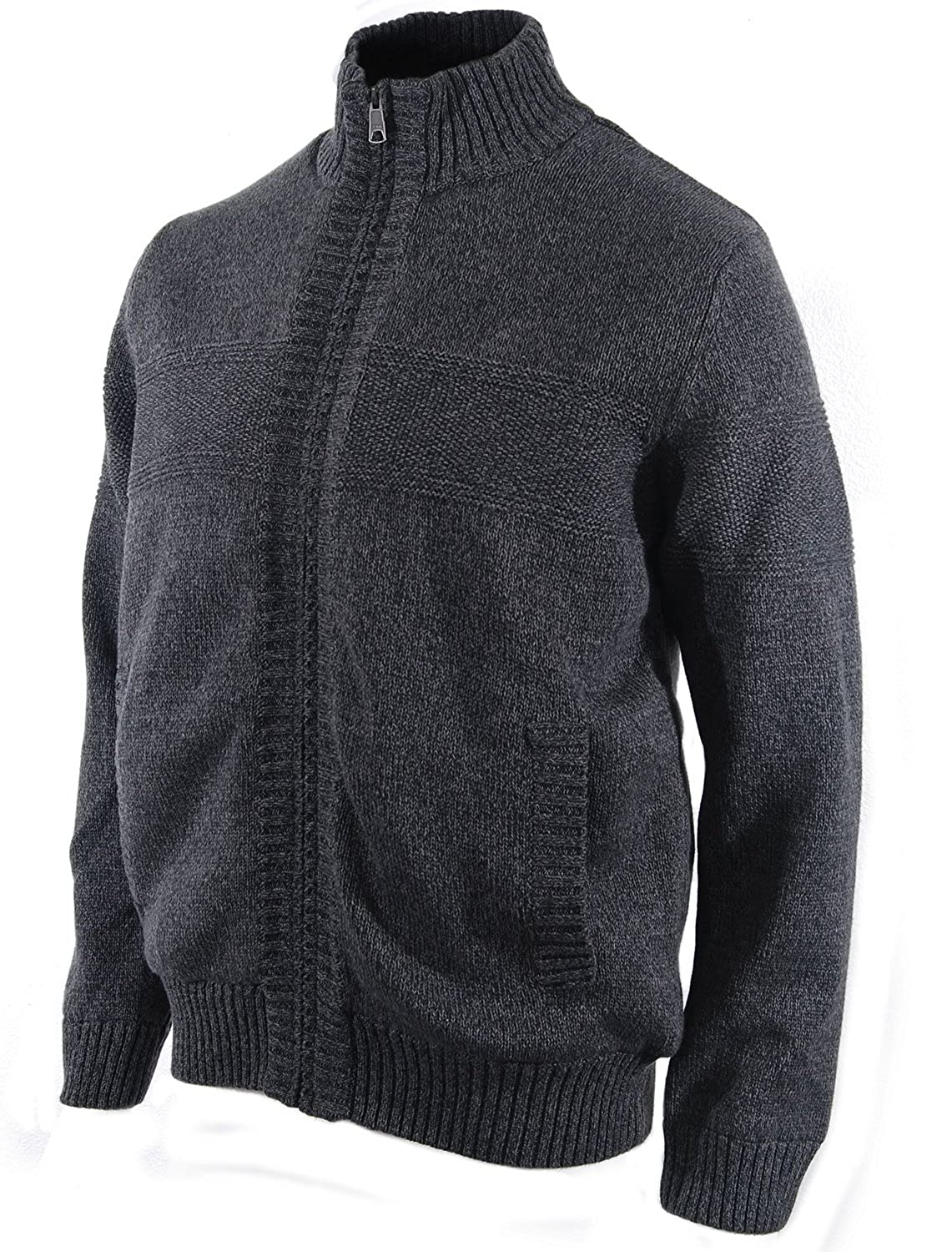 Boston Traders Men's Cable Knit Sherpa-Lined Full Zip Sweater at ...