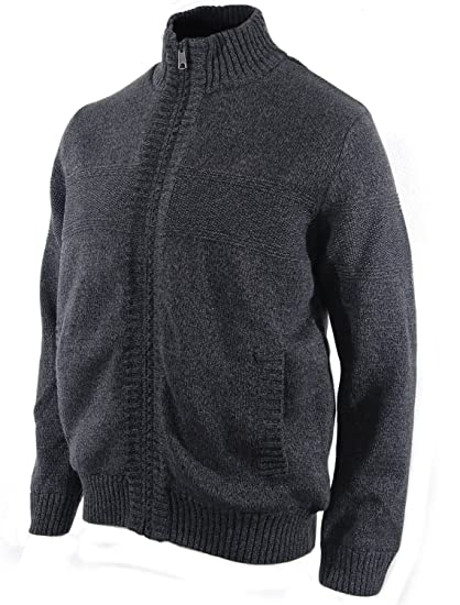 Boston Traders Mens Cable Knit Sherpa Lined Full Zip Sweater At
