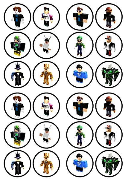 24 Roblox Boy #3 PRECUT Edible Cupcake Toppers - wafer card disc cake  decorations STAND UP (PRECUT)