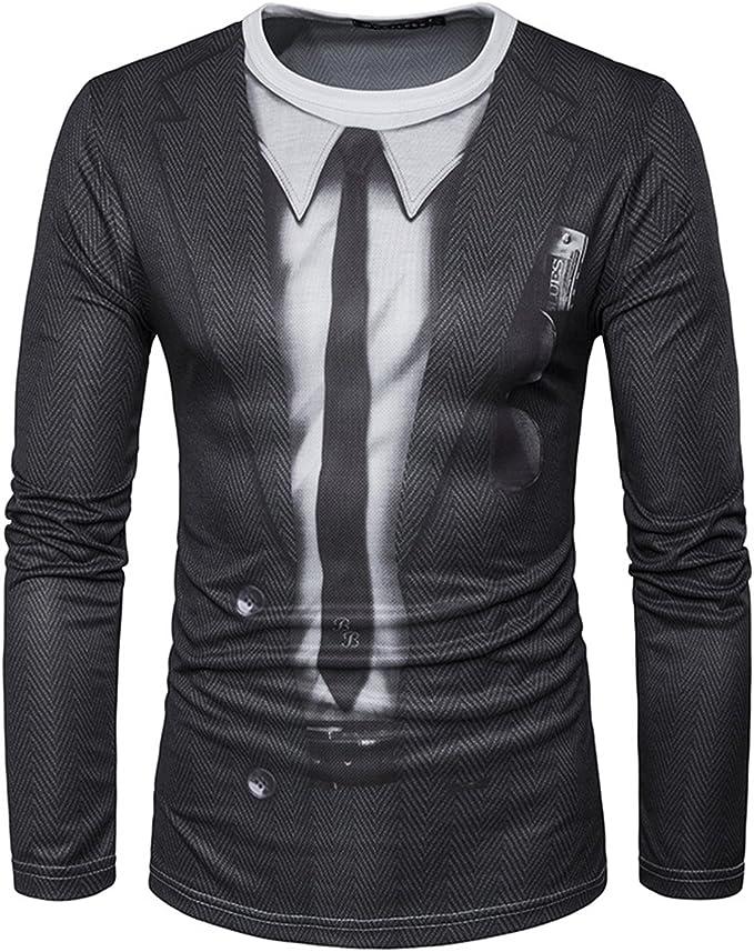 YCHENG Creativa Camisetas para Hombre Manga Larga 3D Digital ...