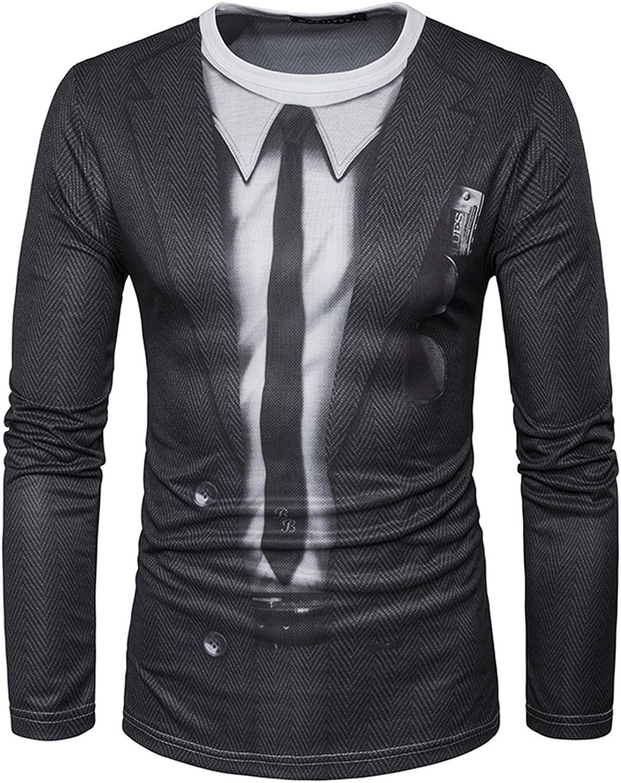 YCHENG Moda Camisetas para Hombre Manga Larga 3D Impresa Blazer ...