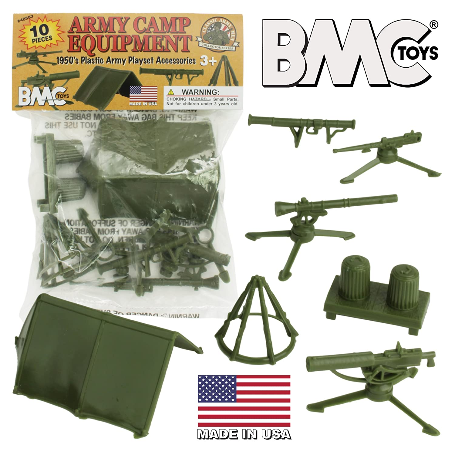 BMC Classic PLASTIC ARMY MEN Playset Accessories - 10pc Military Camp - US Made BMC Toys