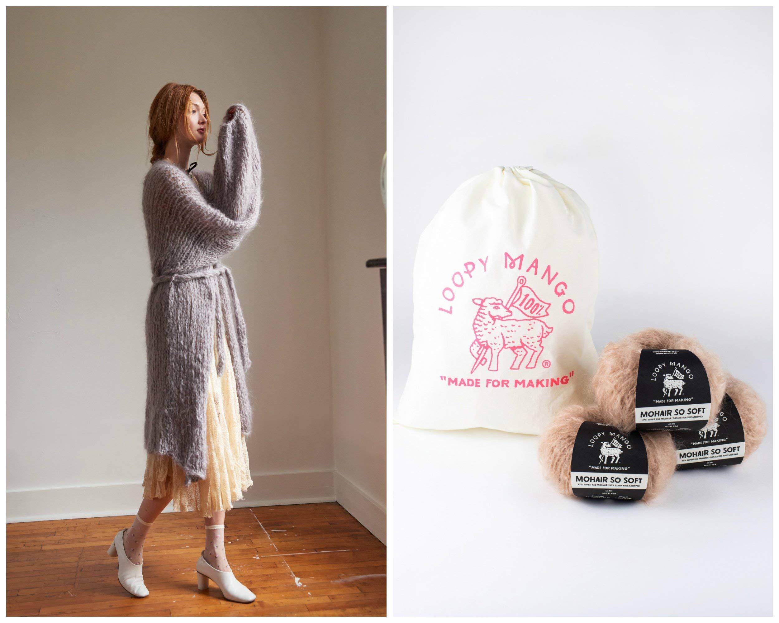 Loopy Mango DIY Knit Kit - Medium/Large Long Cardigan - Mohair So Soft (Moss) by Loopy Mango (Image #1)