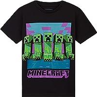 Minecraft Camiseta Niño, Ropa Niño Algodon 100%, Camisetas para Gamers en Negro y Gris, Regalos para Niños y…