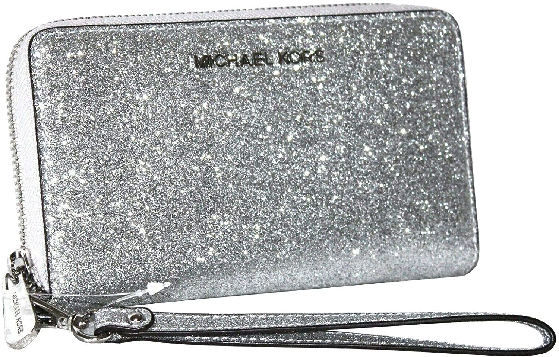Michael Kors Jet Set Travel Large Flat Zip MF Phone Case Glitter Giftable Leather Wristlet Wallet (Silver)