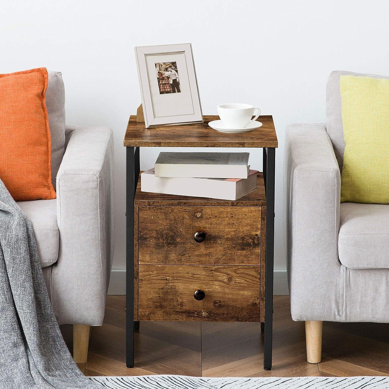 Bout de Canap/é Facile /à Monter Style Industriel Chambre Table de Nuit Marron Rustique EBF43BZ01 Table dAppoint avec 2 tiroirs et 2 /étag/ères de Rangement HOOBRO Table de Chevet pour Salon