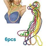 iLoveCos 80s Party Dress Accessories Plastic Neon Multicolour Bead Necklaces Set of 6