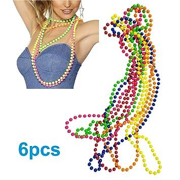 iLoveCos 80s Accesorios de disfraz para Fiestas Neón Custome Multicolor Armario Color Plástico Bead Collar Mardi