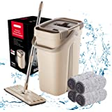 Buildec Flat Mop and Bucket Set Perfect for Home and Kitchen Floor Cleaning Hand Free Squeeze Mop with Stainless Steel…