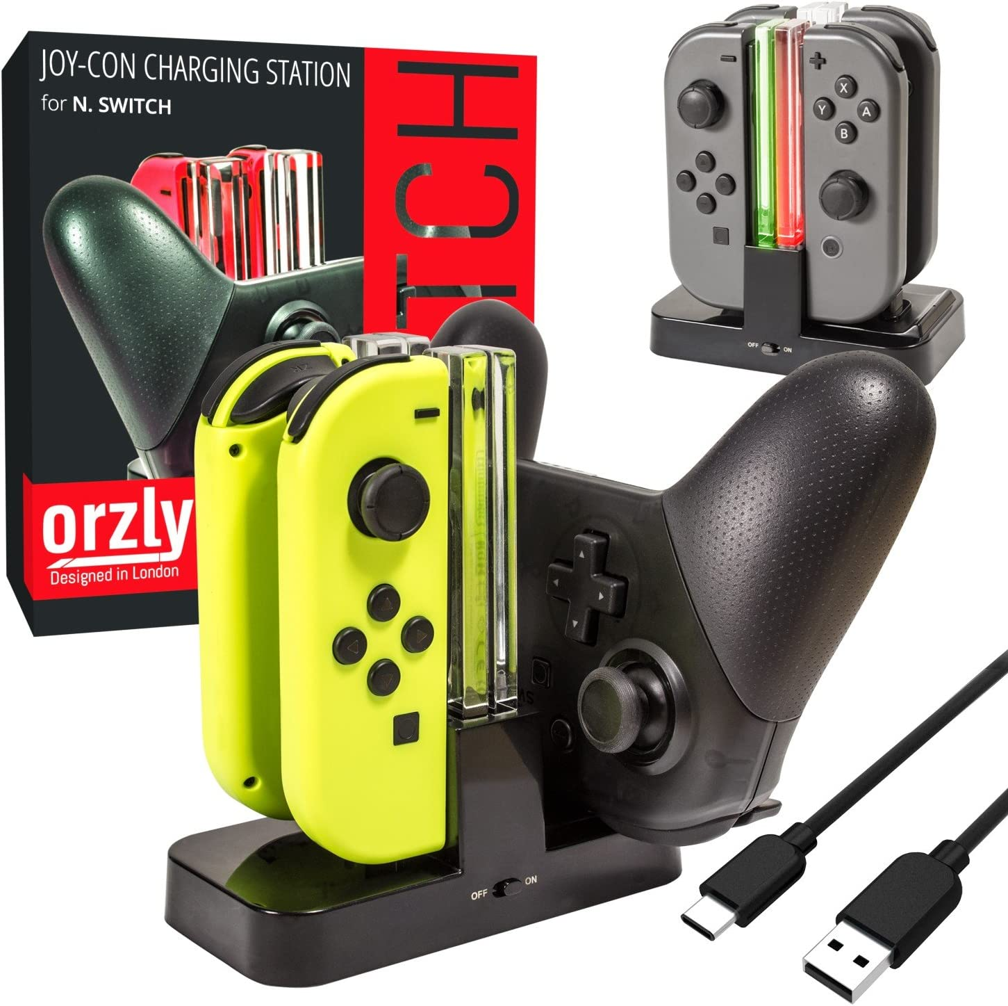 Orzly Switch Pro Controller Dock, Multi Estación de Carga [Luces LED Individuales y Cable USB TypeC]: Amazon.es: Electrónica