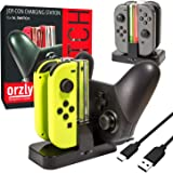Switch Pro Controller Dock, Orzly Docking Station [with Individual Charge LED Indicator Lights & USB TypeC Cable] for Charging up to Four Nintendo Switch Joy-Cons (or 1 Pro Controler with 2 JoyCons)