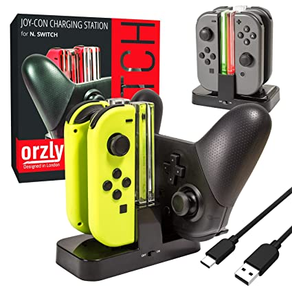 Orzly Nintendo Switch Joy Con Charging Dock, Pro Controller Charging  Station, Charge Stand Becomes Charger for Upto 4 JoyCons or Nintendo Switch  Pro
