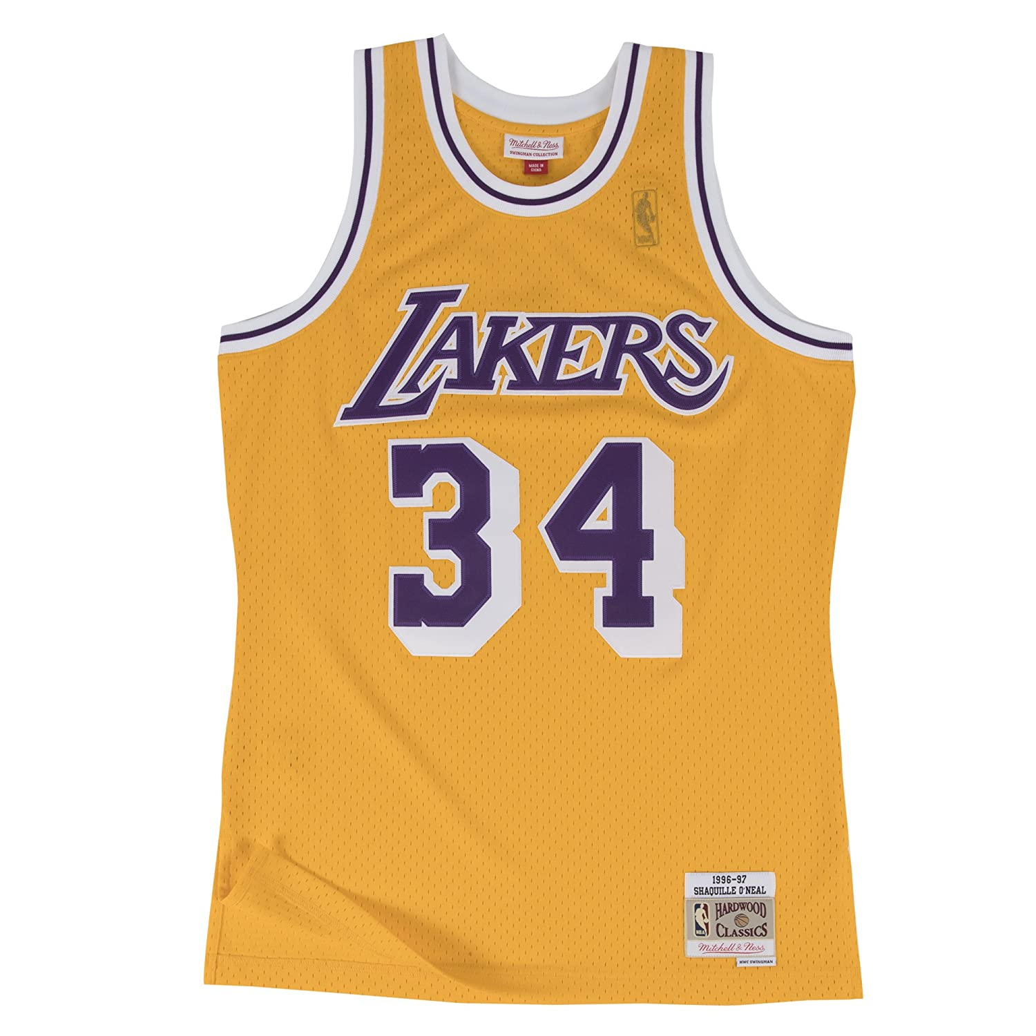 105ac6800d0cf Amazon.com : Mitchell & Ness Yellow/Purple Los Angeles Lakers Shaquille  O'Neal Swingman Jersey : Clothing