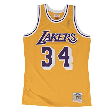 Shaquille ONeal Los Angeles Lakers Mitchell & Ness NBA Throwback Gold Jersey