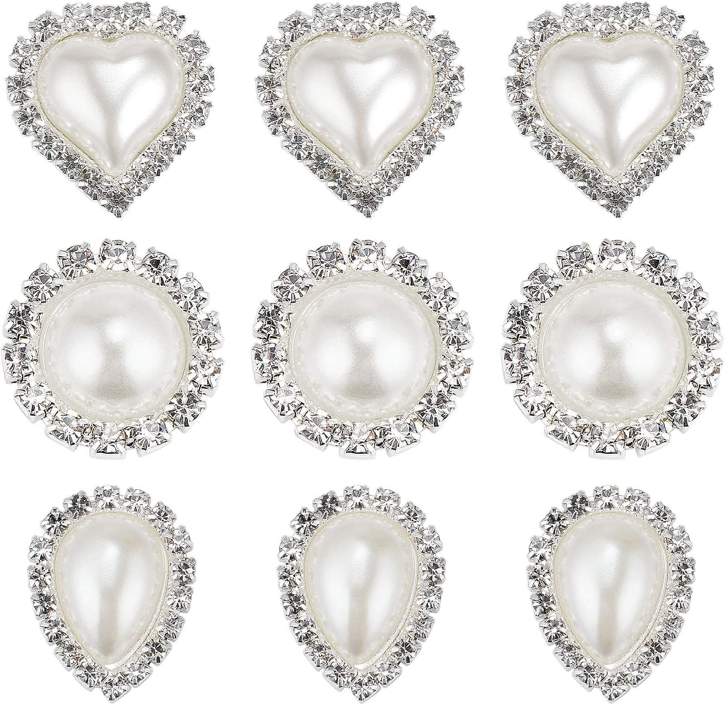 TsunNee 30 botones de perlas de imitación de diamantes de imitación, botones de parte trasera plana, adornos para manualidades, envoltura de regalos de boda