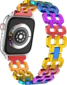 Rainbow Watch Band for Apple Watch 38/40mm Women Series 6/5/4/SE Aluminum alloy Light Weight Wristband Diamond Metal Watch Strap Compatible with Apple Watch 6/5/4/SE 40mm