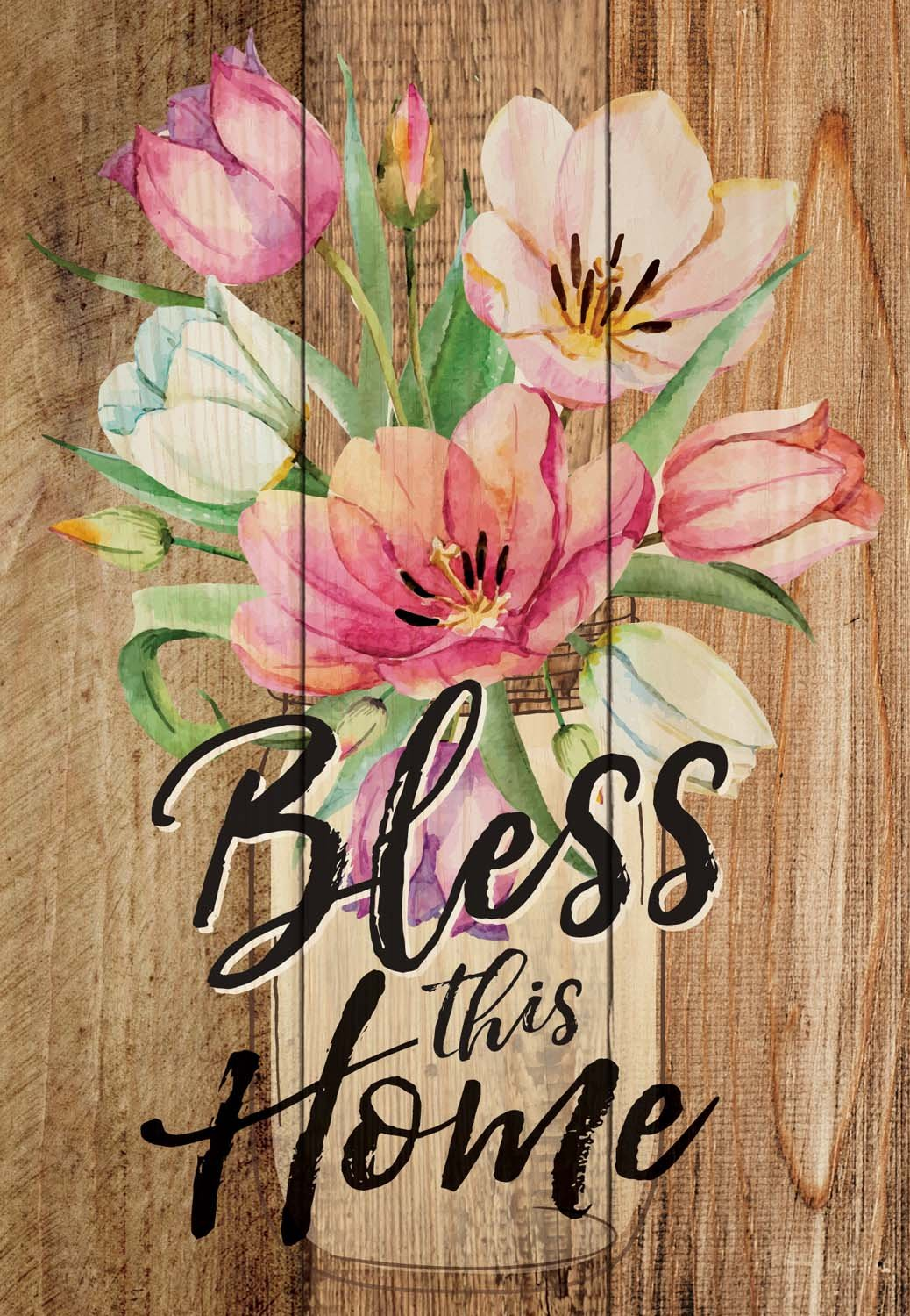 Bless This Home Floral Distressed 7 x 5 Small Wood Plank Design Plaque Sign