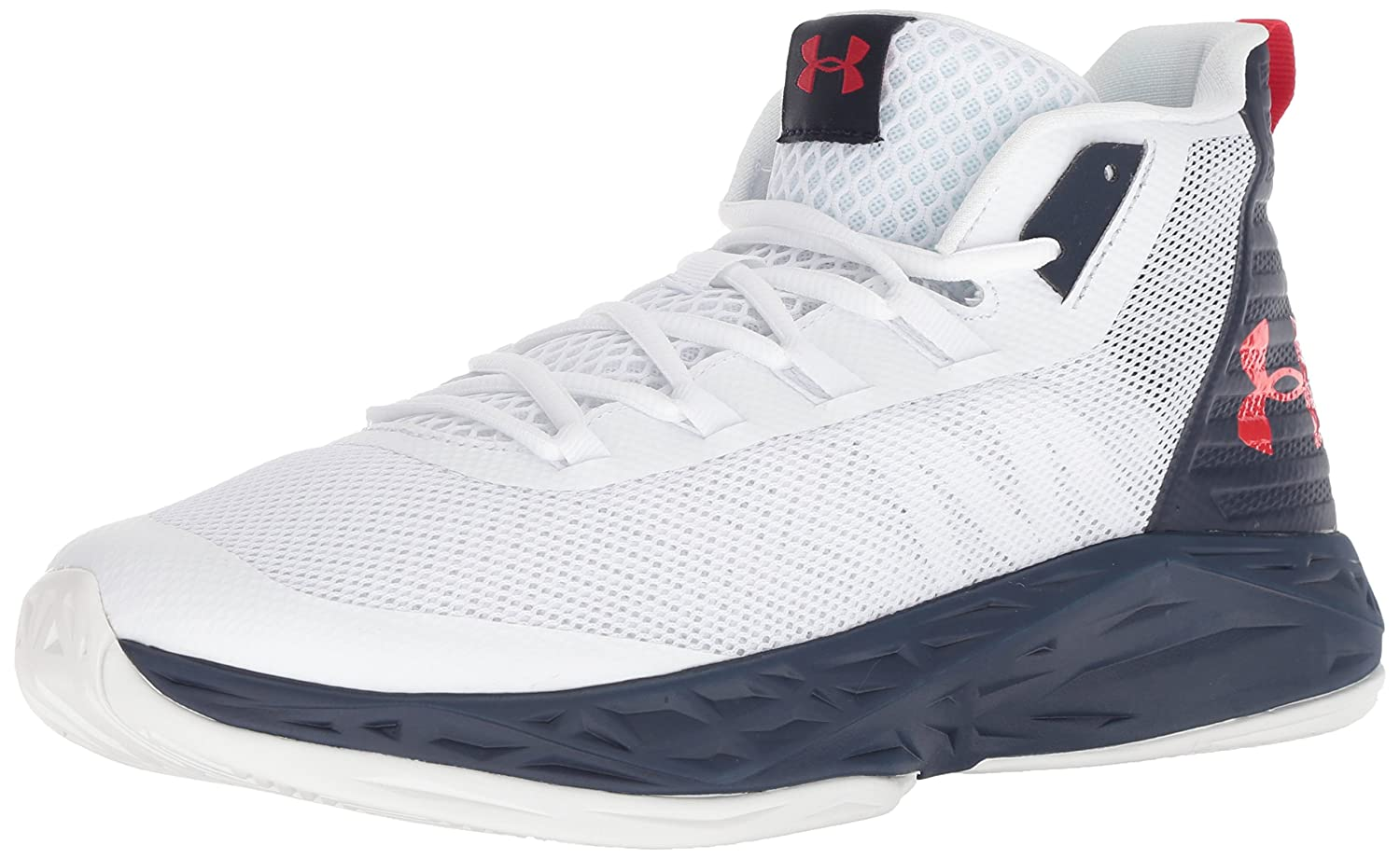 Under Armour Chaussures UA Jet Mid, Chaussures Armour de Basketball Homme 46 EU|Blanc (White/Midnight Navy/Red) abb8b7
