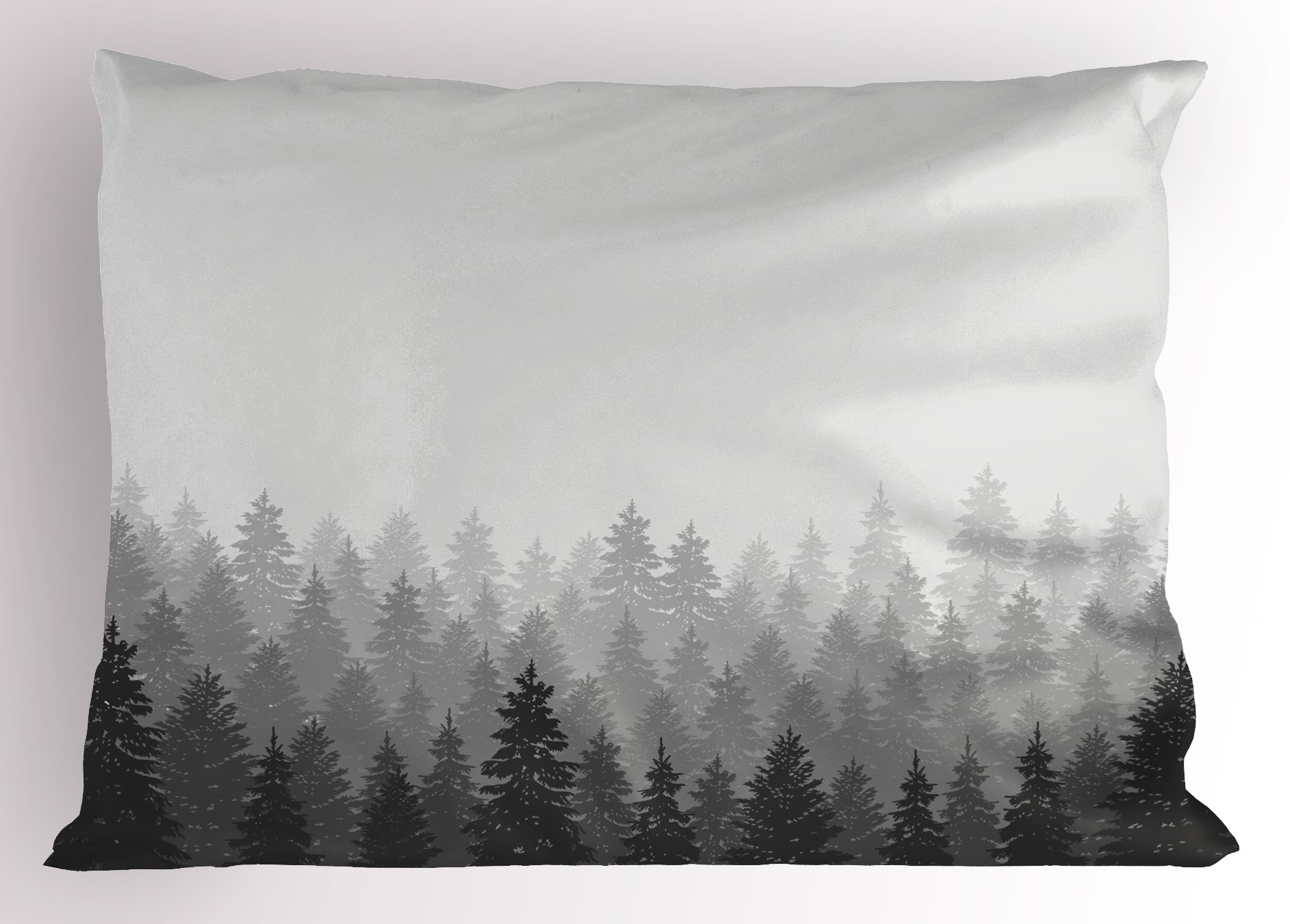 Ambesonne Forest Pillow Sham, Wilderness Pattern with Many Trees Nature Panorama Monochrome Woods, Decorative Standard Size Printed Pillowcase, 26 X 20 inches, White Grey Charcoal Grey