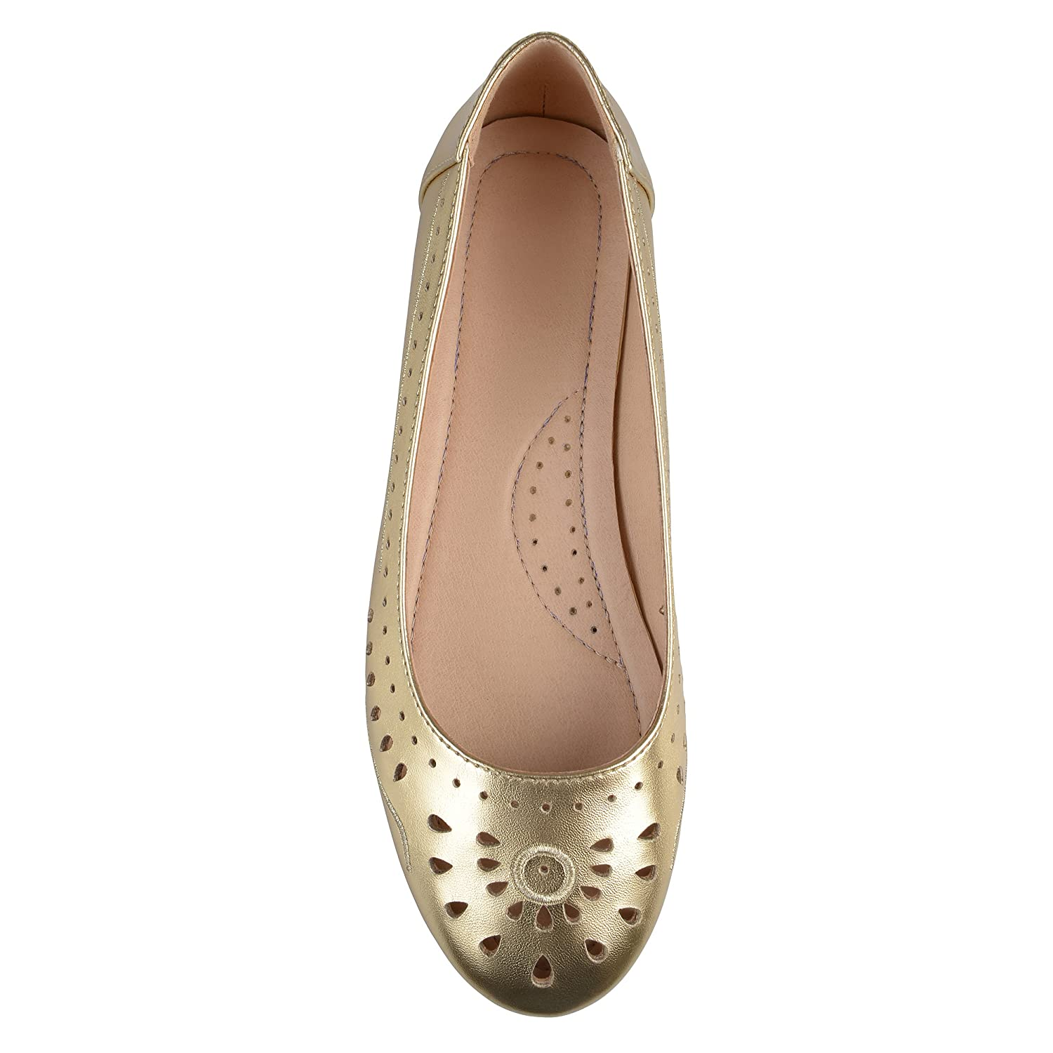 Brinley Co Womens Cyra Faux Leather Laser-Cut Comfort-Sole Embroidered Lightweight Flats B07573SVPF 11 B(M) US|Gold