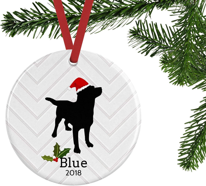 Unique Dog Christmas Ornament, Labrador Retriever, Black Lab Personalized Memorial Gift,Customized Name and Date Porcelain Ceramic Ornament