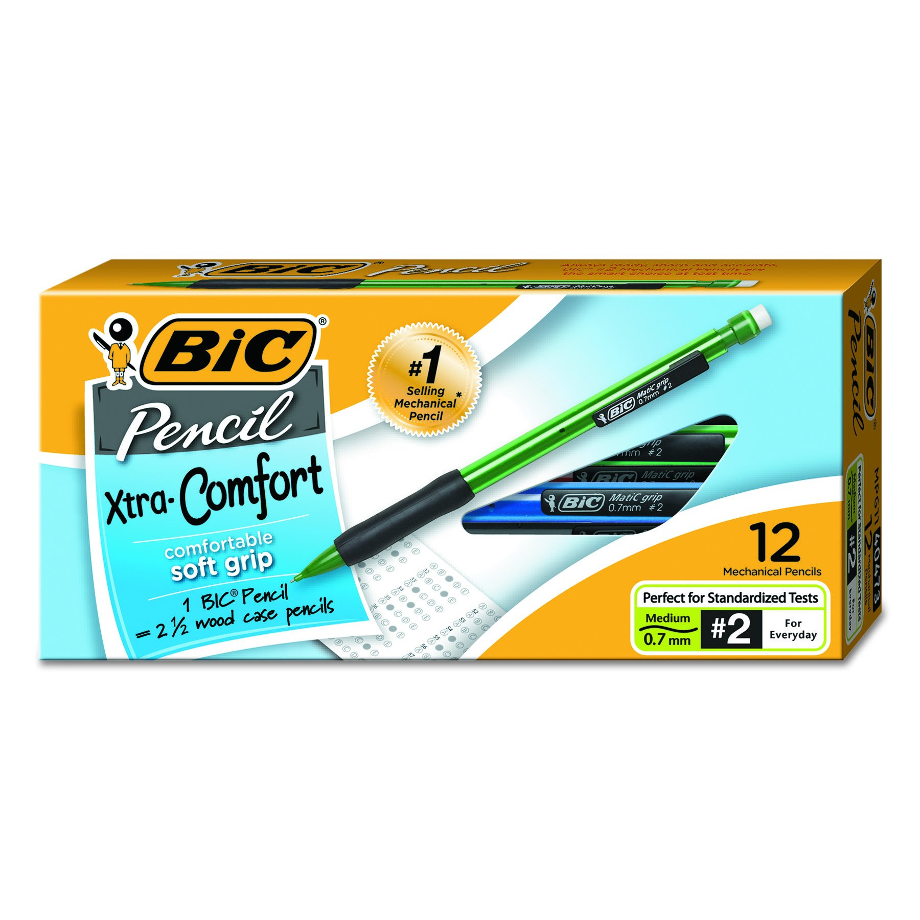 12 Lapices Bic Matic Grip - Portaminas 0.7mm