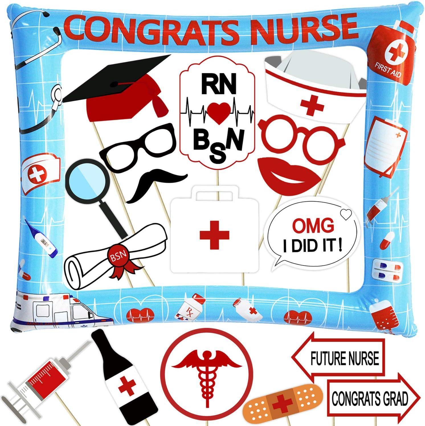 42 Piece Nurse Graduation Photo Booth Props Red Glitter Great Graduation Decorations For 2019 Doctor Nurse Graduation Theme Party Supplies