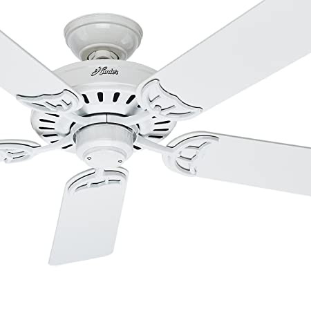 Hunter Fan 52 inch Indoor Ceiling Fan in White with 5 White Bleached Oak Reversible Composite blades Renewed