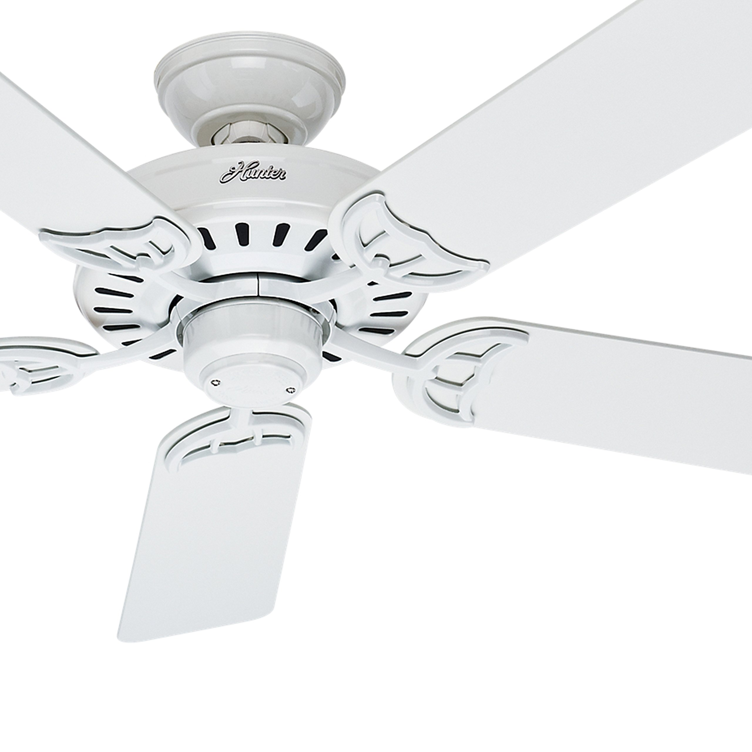 Hunter Fan 52'' Indoor Ceiling Fan in White with 5 White/Bleached Oak Reversible Composite blades (Certified Refurbished)