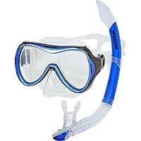 AQUAZON Capri Hochwertiges Schnorchelset, Tauchset, Schwimmset, Schnorchelbrille mit Tempered Glas, Schnorchel mit Semi Dry top für Kinder, Jugendliche Von 7-14 Jahren