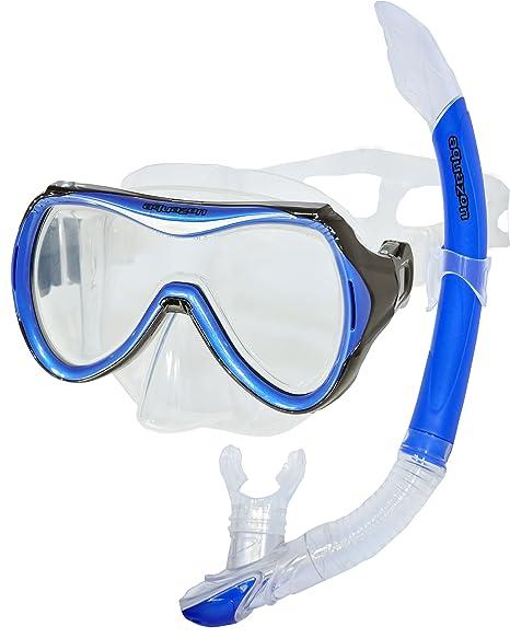 AQUAZON CAPRI Hochwertiges Schnorchelset, Tauchset, Schwimmset, Schnorchelbrille mit Tempered Glas, Schnorchel mit Semi Dry t