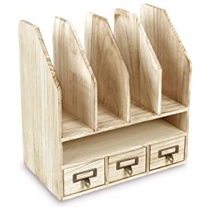 Ikee Design Wooden Desk Organizer File/Mail Sorter Office Supplies Storage