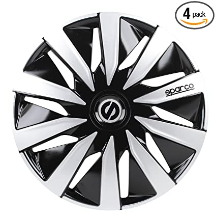 Amazon.com: Sparco SPC1691BKSV Wheel Covers Lazio 16-inch Black/Silver: Automotive