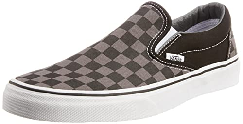 07235a4ab68 Vans Men s Classic Slip-On Checkerboard Grey and Black Canvas Boat Shoes ...